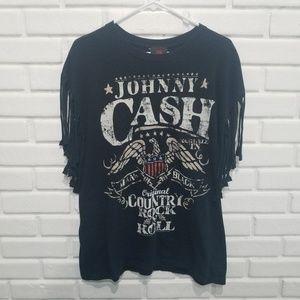 Zion Johnny Cash Man in Black Fringe Band Tee L